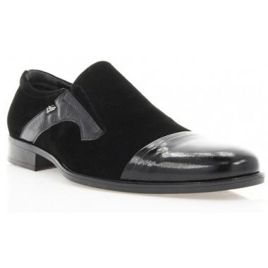 Купить Туфли мужские черные, лакированная кожа/велюр (1549 чн. Вл+Лк) Roma style по лучшим ценам