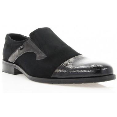 Купити Туфлі чоловічі чорні, лакована шкіра/велюр (1549_т чн. Вл+Лк) Romastyle за найкращими цінами