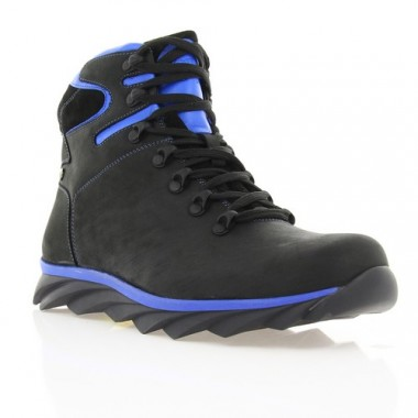 Купить Ботинки мужские черные/голубые, кожа (1600-17 чн. Шк_гол (шерсть)) Roma style по лучшим ценам
