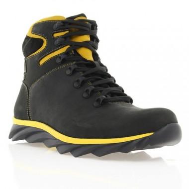 Купить Ботинки мужские черные/желтые, кожа (1600-17 чн. Шк_жовт (шерсть)) Roma style по лучшим ценам