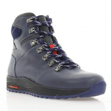 Ботинки подростковые синие, кожа (1600П-18 сн. Шк (шер)) Roma style