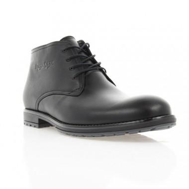 Ботинки мужские черные, кожа (1605-17 чн. Шк (шерсть)) Roma style