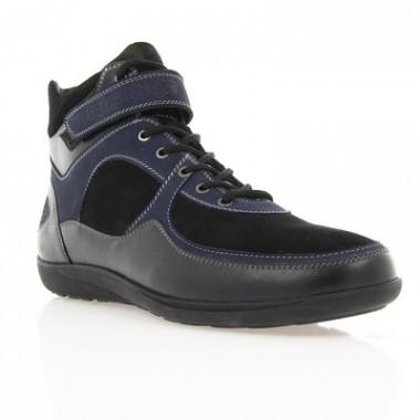 Купить Ботинки мужские черные/синие, кожа (1614 чн. Шк+сн.вст (Ш)) Romastyle по лучшим ценам