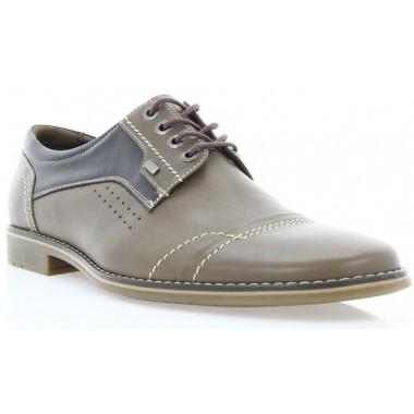 Туфли мужские коричневые, кожа (1701 кор. Шк ) Roma style