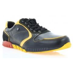 Кросівки чоловічі чорні/жовті, шкіра (1709/17 чн. Шк_жовт вст) Roma style
