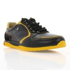 Кроссовки подростковые черные/желтые, кожа (1709 П-18 чн. Шк_жовт) Roma style