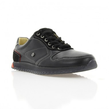 Кросівки підліткові чорні/сірі, шкіра (1709 П-18 чн. Шк_сір) Roma style