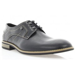 Туфли мужские черные, кожа (1714 чн. Шк+бж. р) Romastyle