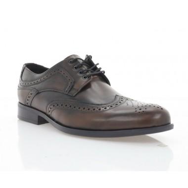 Туфли мужские коричневые, кожа (1715-19 кор. Шк) Roma style