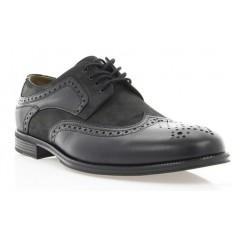 Туфли мужские черные, кожа/нубук (1715 чн. Шк+Нб) Roma style