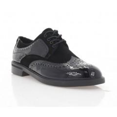 Туфлі жіночі чорні, лакована шкіра/велюр (1715 Ж чн. Лк+Вл) Roma style