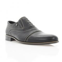 Туфли мужские черные, кожа (1718 чн. Шк+бж. р) Roma style