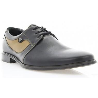 Купити Туфлі чоловічі чорні/коричневі, шкіра (1719 чн. Шк+кор. вст) Romastyle за найкращими цінами