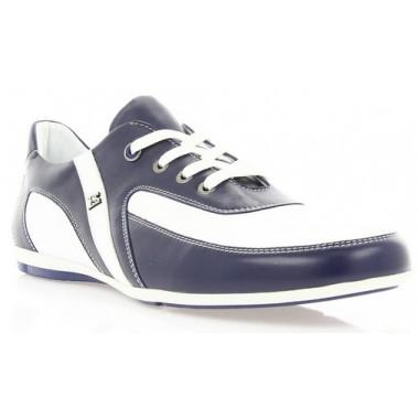Купити Кросівки чоловічі сині/білі, шкіра (1725 сн+біл. Шк) Romastyle за найкращими цінами
