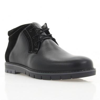 Ботинки мужские черные, кожа/замша (1809-18/1 чн. Шк (шер)) Roma style