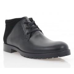 Ботинки мужские черные, кожа/замша (1809-20 чн. Шк+Зш (шерсть)) Roma style