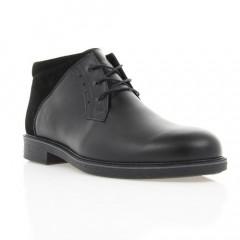 Ботинки мужские черные, кожа/замша (1809-2 чн. Шк+Зш (шерсть)) Roma style