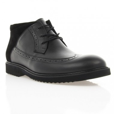 Ботинки мужские черные, кожа/замша (1809-17_ЕВА чн. Шк (шерсть)) Roma style