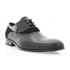Туфли мужские черные, кожа/велюр (1834 чн. Шк+Вл) Roma style