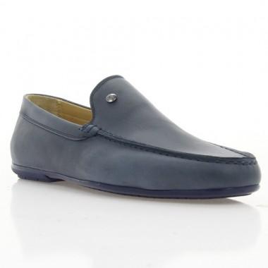 Купить Мокасины мужские синие, кожа (1847/1-18 сн. Шк) Roma style по лучшим ценам