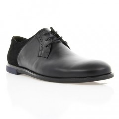 Туфли мужские черные, кожа/замша (1853 чн. Шк+Зш) Roma style