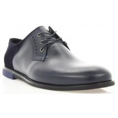Туфли мужские синие, кожа/замш (1853 сн. Шк+Зш) Roma style