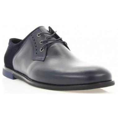 Купити Туфлі чоловічі сині, шкіра/замш (1853 сн. Шк+Зш) Roma style за найкращими цінами