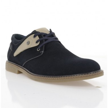 Купити Туфлі чоловічі сині/бежеві, замш (1858-19 т.сн. Зш_беж) Roma style за найкращими цінами