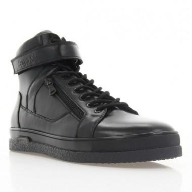 Ботинки мужские черные, кожа (1868-18 чн. Шк (шерсть)) Roma style