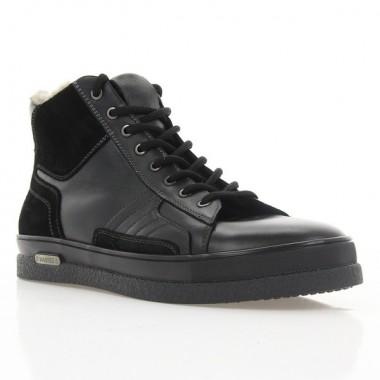 Ботинки мужские черные, кожа/замша (1884-18 чн. Шк (шерсть)) Roma style