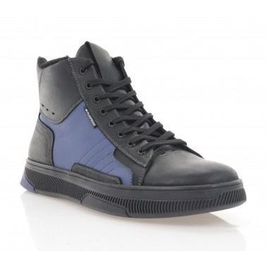 Ботинки мужские черные/голубые, кожа (1884-20 чн. Шк+гол. (шер)) Roma style