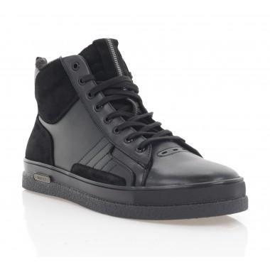 Ботинки мужские черные, кожа/замша (1884-20 чн. Шк+Зш (шерсть)) Roma style
