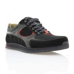 Кросівки чоловічі чорні/сірі/червоні, шкіра/замш (1900 чн/сір Шк_черв) Roma style