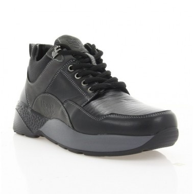 Кросівки підліткові чорні/сірі, шкіра (1916 П чн. Шк (байка)) Roma style