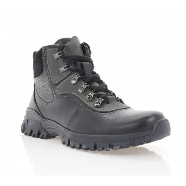 Ботинки мужские черные, кожа (1924-20 чн. Фл (шерсть)) Roma style