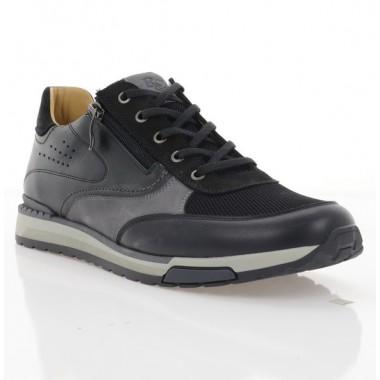 Кросівки чоловічі чорні/сірі, шкіра/сітка/нубук (1959 чн. Шк+СТК) Roma style