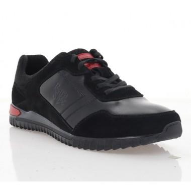 Кросівки чоловічі чорні, шкіра/замш (1962 чн. Шк+Зш) Roma style