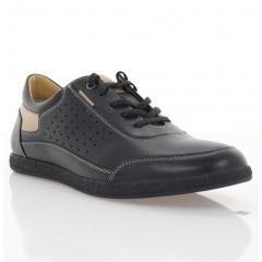 Туфли мужские черные/бежевые, кожа (1964 чн. Шк_беж) Roma style