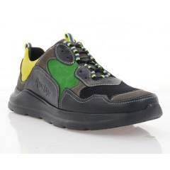 Кросівки чоловічі чорні/зелені/жовті, шкіра/замш/нубук (1977 чн/жовт/зел. Шк) Roma style