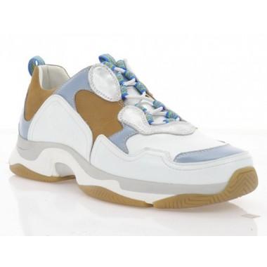 Кросівки жіночі рижі/білі/голубі, шкіра/нубук (1977Ж біл/гол/риж Шк) Roma style