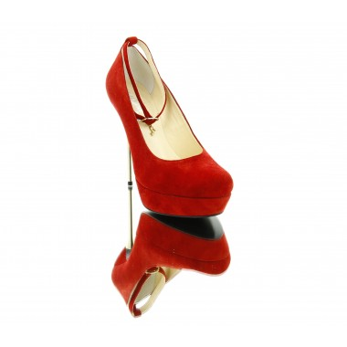 Туфли женские красные, велюр (2168 черв. Нб) Romastyle