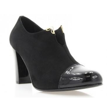 Купить Ботильоны женские черные, велюр/лакированная кожа (2417 чн. Вл+Лк) Roma style по лучшим ценам