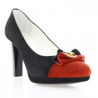 Купити Туфлі жіночі чорні/червоні, велюр (2464 чн. Вл+черв) Romastyle за найкращими цінами