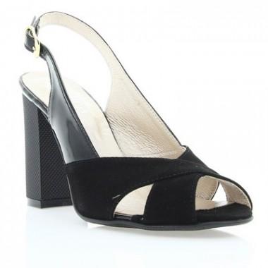 Купити Босоніжки жіночі чорні, велюр/лакована шкіра (2472/17 чн. Вл+Лк) Roma style за найкращими цінами