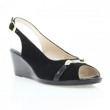 Купить Босоножки женские черные, велюр/лакированная кожа (2477/17 чн. Вл) Roma style по лучшим ценам