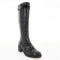 Сапоги женские черные/серые, лакированная кожа (2553 т.сір. Лк (байка)) Roma style