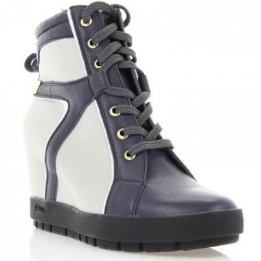 Купить Ботинки женские синие/серые, кожа (2555 сн. Фл (байка)) Romastyle по лучшим ценам