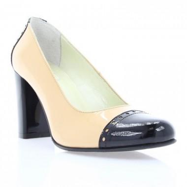 Купить Туфли женские бежевые / черные лакированная кожа ( 2602 бж . + чн. Лк ) Romastyle по лучшим ценам