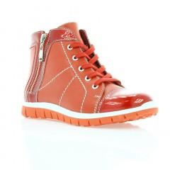 Ботинки детские для девочек красные, кожа (2623М черв. Шк (шерсть)) Romastyle