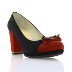 Туфли женские черные / красные , замша ( 2651 чн. Зш + черв . ) Romastyle